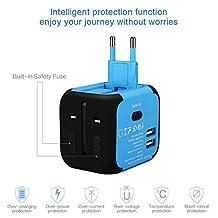 Adaptador universal de viaje, YOMYM International Cargador de viaje Adaptador de corriente con cargador USB dual, todo en uno Cargador universal de adaptador de enchufe para el Reino Unido US AU Europa y Asia, Fusible de seguridad incorporado (Azul)