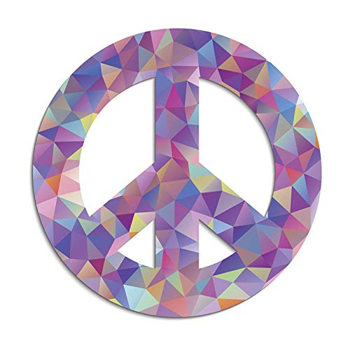 Abstract Art Magnet - Magnet Abstract Geometric Art Peace Sign Colorful Purple Pink Light DAR Blue Yellow Vinyl Magnet Two in One Pack (8 Inches Wide)