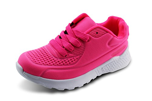 Jabasic Kids Mesh Breathable Sneakers Boys Girls Lace Up Walking Shoes (13, Pink)