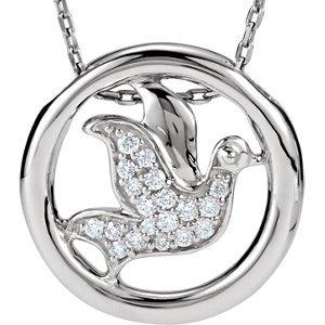 Argent sterling 1/8ct Diamant Colombe Cercle Collier de 45,7cm