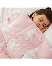 """Weighted Idea Weighted Blanket Kids 10 lbs 41"""" x 60"""" for Kids and Teens (Pink Animal)"""