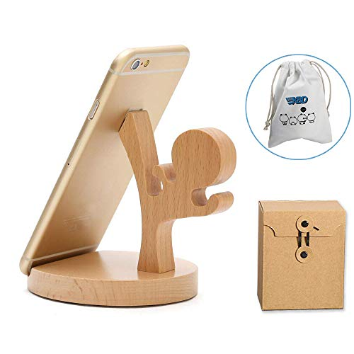 (Cute Cell Phone Stand with Small Bag, MHKBD Wooden Phone Stand Cell Phone Holder Desktop Cellphone Stand Universal Desk Stand for All Mobile Smart Phone, Great for Personal Use or As a Gift)