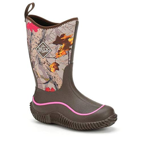 Muck Hale Multi-Season Kids' Rubber Boots,Chocolate Brown With Hot Leaf Camo,3 M US Little -