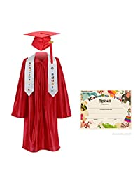 "GraduationMall Kindergarten Graduation Cap Gown Stole Package and Free Certificate Red Medium 30(3'9""-3'12"")"