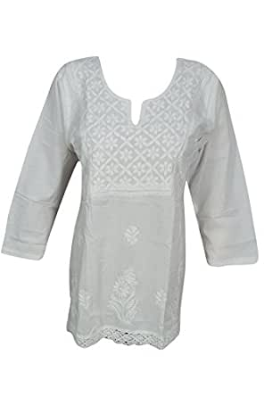 Bohemian Chic Designs Ladies White Tunic Embroidered Chikankari Blouse Top Casual X-Small
