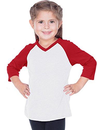 337b8249 Little Girls 3-6X Sheer Jersey Contrast V Neck Raglan 3/4
