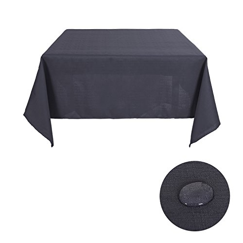 Deconovo Decorative Solid Table Cover Faux Linen Tablecloth Water Resistant Square Table Cloth for Dining Room 54W x 54L Inch Dark Grey (Tablecloth Solid Linen)