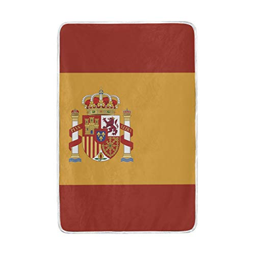 abcffaaQ Spain Flag Blanket 90-inches x 60-inches Oversized Flag Spain Travel Throw Cover by abcffaaQ