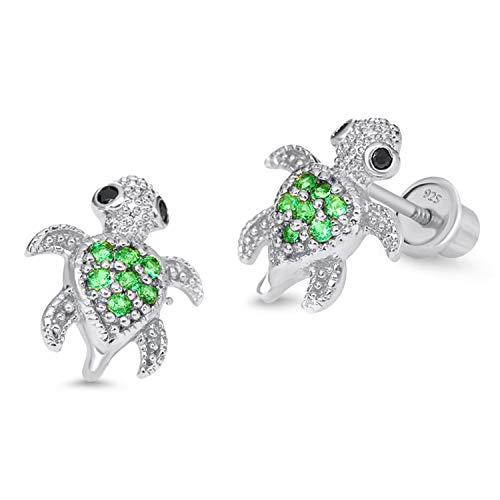 925 Sterling Silver Rhodium Plated Green Turtle Cubic Zirconia Screwback Baby Girls Earrings