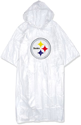 The Northwest Company Officially Licensed NFL Pittsburgh Steelers Lightweight Clear Poncho (Pittsburgh Steelers Rain)