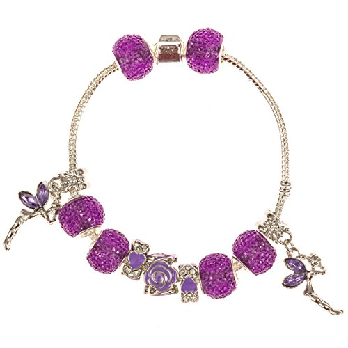 7.5' Pan (European Beaded Charm Bracelet for Women and Teen Girls 7.5 Inch Prime Quality Great Gift — Purple Crystals and Charms — Dangle Fairy Beads — 925 Sterling Silver Over Stainless Steel Snake Chain Bangle with Barrel Clasp — Nickel & Allergy Free)