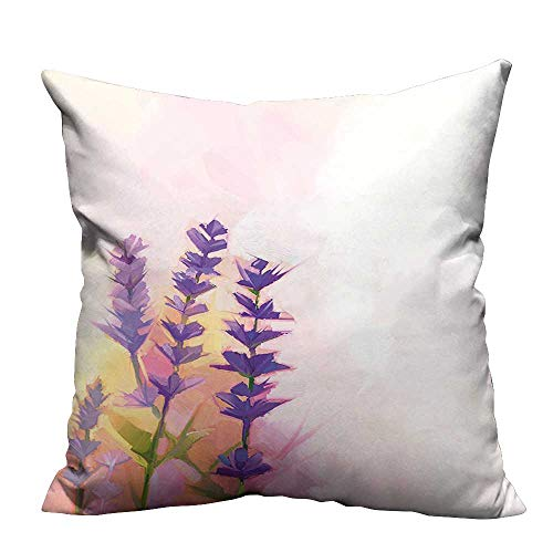 - YouXianHome Lovely Cushion Covers Tall Lavenders Old World Essential Perennial Weeds Shrubs Theme Pink Resists Stains(Double-Sided Printing) 31.5x31.5 inch