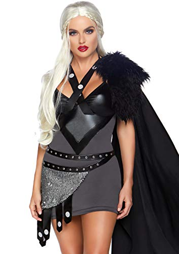 Leg Avenue Womens Throne Warrior Halloween Costume, Black,