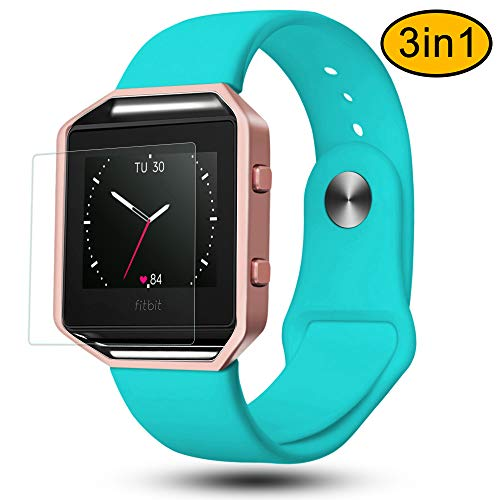 Fitbit Blaze Bands 3 in 1 Watch Wristband Strap Soft Silicone Replacement, Protective Case Cover Rose Gold Frame with Screen Protector,Smart Fitness Watch Classic Bracelet for Men (Aladdin Watches)