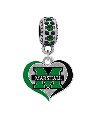 (Final Touch Gifts Marshall University Swirl Heart Charm Fits European Style Large Hole Bead)