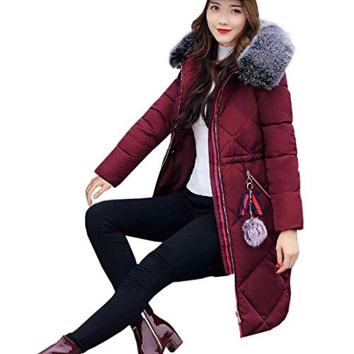 Capucha Parka Outdoor Manga Wein Mujer fashion Basic con Rot Elegante Parka Invierno Pluma De Largo Caliente Piel Espesar HX Largos Espesar Ropa Transición Casuales 0SqzOwO