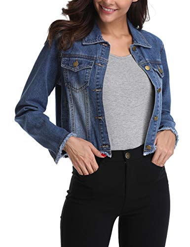 - MISS MOLY Retro Denim Jackets for Women Long Sleeve Button up Frayed Stretch Jean Washed Crop Coat Outwear
