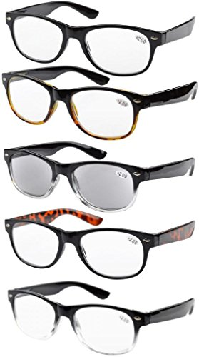 Eyekepper 5-pack Spring Hinges 80's Reading Glasses Includes Sun Readers - Readers 1.75