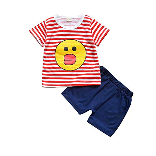 Zlolia Toddler Kids Boys Duck Cartoon Print Stripe T-Shirt Two-Piece Set&Solid Color Stretch Shorts Kids Summer Clothes Red