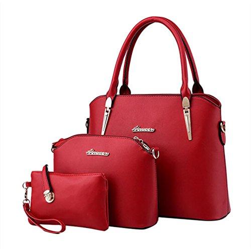 Bolsa y de Bolso y Mano Rojo Cuero Baymate Monedero Moda de las Hobo Vino de Mujer Pc5UpzB