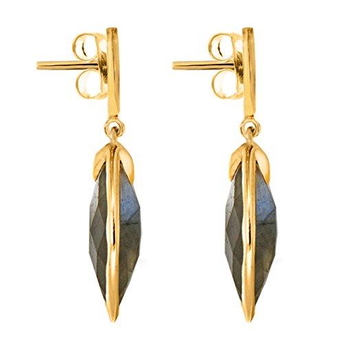 Missoma 18ct Gold Plated Short Maiya Drop Earrings in Labradorite ZrLB1pYgb