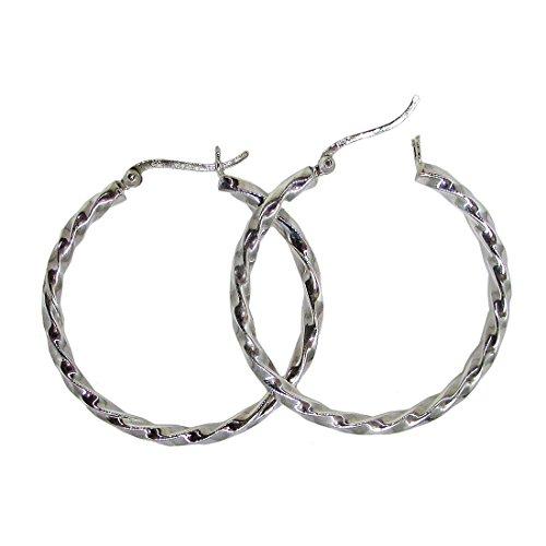 Large Sterling Silver Twisted Hoop Earrings, (3mm Tube) - Solid Earrings Twisted