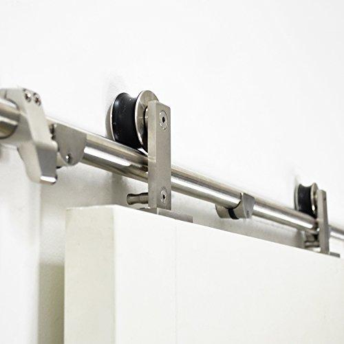 DIYHD 6FT Brushed Stainless Steel Top Mount Sliding Barn Door Track Easy Mount Barn Closet Wood Door Hardware Kit by DIYHD