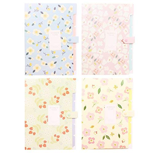 Floral Printed Accordion Document File Folder Expanding Letter/A4 Organizer (Set of 4) by Juniqute