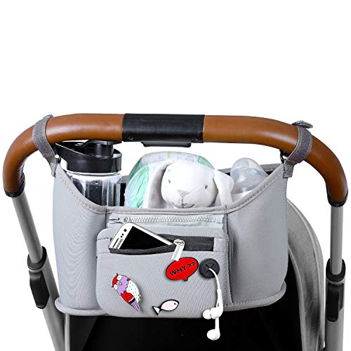 Stroller Organizer with 2 Deep Cup Holders - Extra Large Storage Space with Room for All Baby's Stuff- Detachable Wallet Pouch for Cell Phone and More- Bonus Decorative Bag Pin -Gray