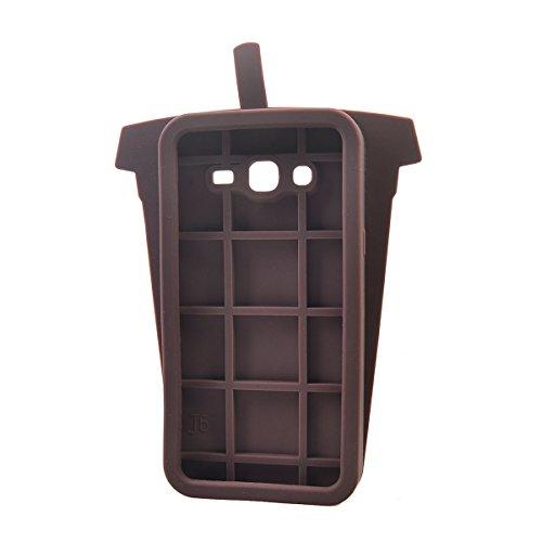 COOLKE Moda 3D Lovely Cartoon Suave Silicona Funda Carcasa Tapa Case Cover para Samsung Galaxy J5 (2015) (5.0) - Rose marrón