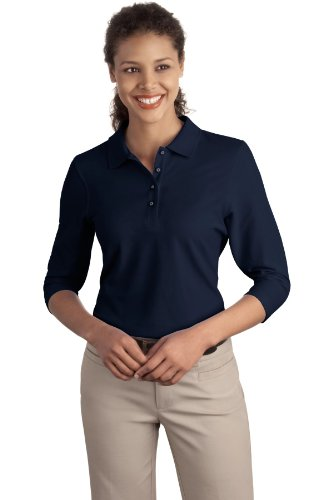 Port Authority Women's Silk Touch 3/4 Sleeve Polo XXL Navy (3/4 Silk Sleeve Top)