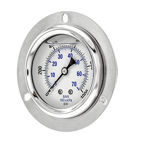 "PIC Gauge PRO-204L-254M Glycerin Filled Industrial Front Flanged Panel Mount Pressure Gauge with Stainless Steel Case, Brass Internals, Plastic Lens, 2-1/2"" Dial Size, 1/4"" Male NPT, 0/1000 psi"