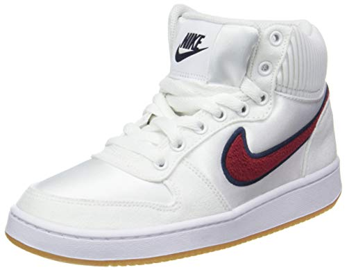 Nike Damen Wmns Ebernon Mid Prem Basketballschuhe Mehrfarbig (White/Red Crush/Blackened Blue 001)