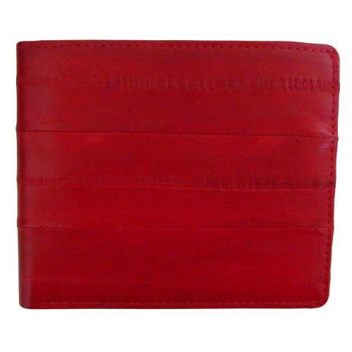 Rainbow Men's Genuine Eel Skin Leather Credit Card Coin Bifold Wallet Red