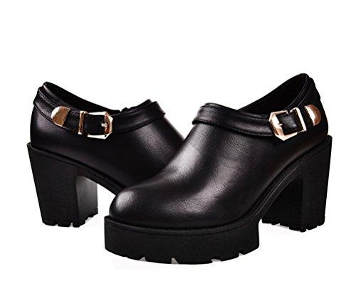 buy online c794e 24f05 Dunhu Kvinnor Mode Klänning Sko Elegant Läder Business Casual Sko (röd    Svart) Svart ...