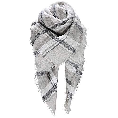 HITOP Women Tartan Scarf Stole Plaid Blanket Checked Scarves Wraps Shawl (Grey)