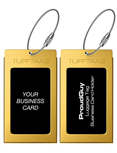 (Luggage Tags Business Card Holder TUFFTAAG PAIR Travel ID Bag Tag - Mayan Gold)