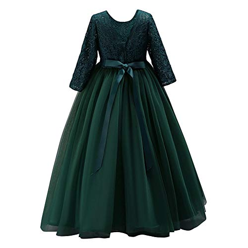 IWEMEK Flower Girls 3/4 Sleeve Lace Tulle Pageant Prom Ball Gown Kid Floor Length Bridesmaid Embroidered Wedding Party First Communion Princess Dress Puffy Dance Evening Long Maxi Dress Z Dark Green