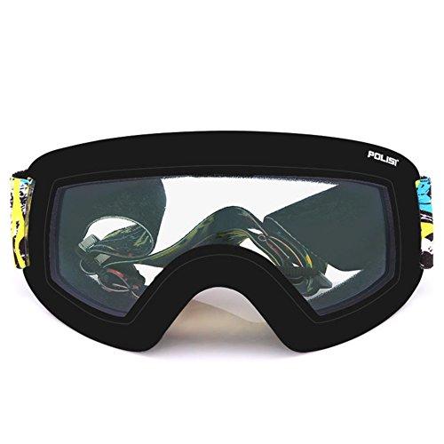 SE7VEN Professionnel Lunettes De Ski,Adulte Ultra Wide-ange Lentille Sphérique Unisexe Snowboard Goggles C