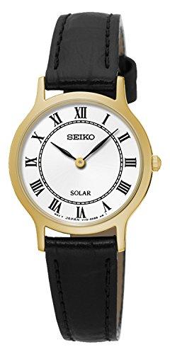 Seiko Reloj Analógico para Mujer de Energía Solar con Correa en Cuero SUP304P1: Amazon.es: Relojes