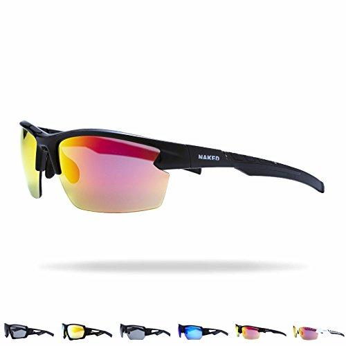 NAKED Optics® Sportbrille für Herren und Damen, Sportsonnenbrille mit Verspiegelten Gläsern, Sonnenbrille zum Radfahren, Laufen, Triathlon, Beachvolleyball-Spielen und Wandern