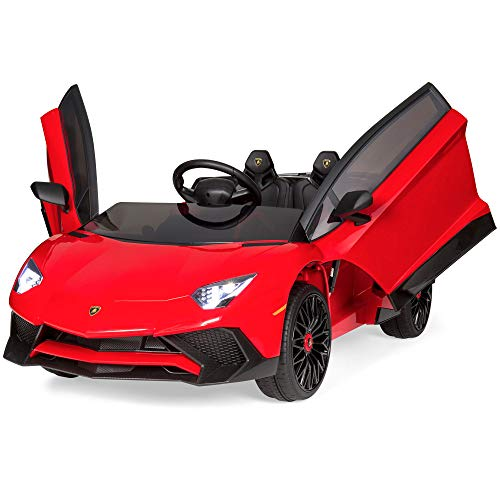 Best Choice Products Kids 12V Ride On Vehicle Lamborghini Aventador SV Sports Car w/ Parent Control, AUX Cable - Red