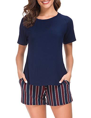 (M-anxiu 2 Pcs Sleepwear Ladies Viscose Light Weight Loungewear Pjs Set Plus Size (Navy, XXL) )
