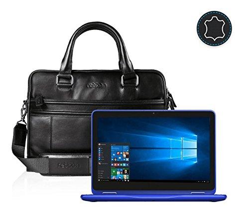 reboon Echt-Leder Laptop-Tasche in Schwarz Leder für Dell Inspiron Touch Screen 11 6 | 13 Zoll | Notebooktasche Umhängetasche | Damen/Herren - Unisex | Premium Qualität Schwarz Leder