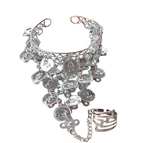 Gypsies Halloween Costumes (Ewandastore Belly Dance Gold Triangle Bracelet Gypsy Jewelry Coin Bracelet Hand Decoration Wrist Bangle Ring,Halloween Costume)