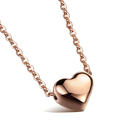 (Cupimatch Womens Heart Pendant Necklace Gift, Stainless Steel Love Charm Chain Included (Rosegold))