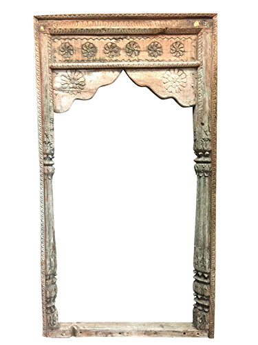 Antique Arch Wall Art Panel Mirror Frame Floral Carved Columns Arched Vintage Rustic Architectural Decor by Mogul Interior