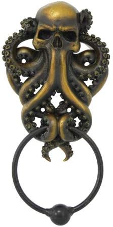 Pacific Giftware Decorative Octopus Skull Monster Resin Door Knocker With Cast Iron Knocker Wall Sculpture Home Kitchen