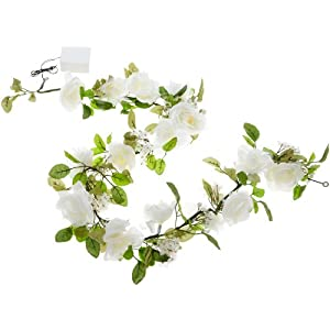 Wilton Lighted White Rose Garland 109