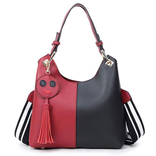 Noir Minimaliste Et 5 Rouge Élégant Messenger Violet Sac Casual Sac Smiley Couleur Femmes Large Sac 35 12cm Couleurs Bandoulière Main Épaule PU À 33 gYSfq
